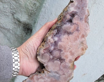"Tall Flat ""Pink"" Amethyst Freeform Crystal with Wooden Base"