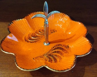 California Pottery Orange Scallop Candy Dish