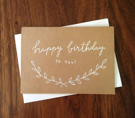 Hand lettered happy birthday card modern calligraphy