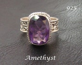 Sterling Silver Ring with Ametyst Gemstone. Gorgeous Gemstone set on this Stunning Classic Style 925 Sterling Silver Ring | Size 9, Ring 215