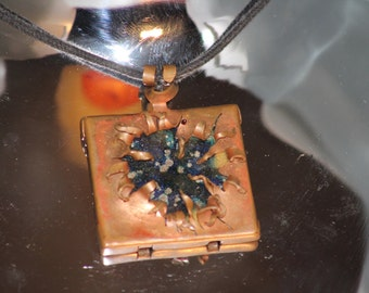 Torn Apart (Copper and Enamel Pendant)