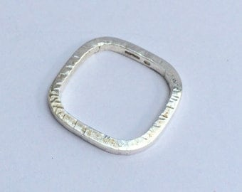 Silver square ring/contemporary silver ring/unique silver ring/square silver ring in size M/hallmarked silver ring