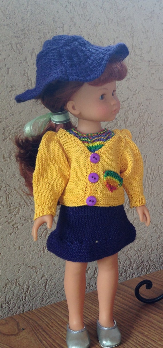 Knitting Patterns For 13 Inch Dolls : Knitting Pattern pdf file for Rainbow top, sweater, skirt ...