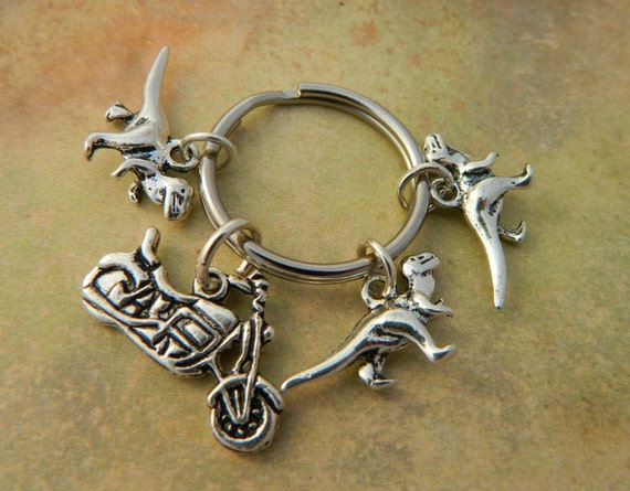 Keychain Gift - Motorbike / Motorcycle With Raptors! - Velociraptor ... Velociraptor Keychain