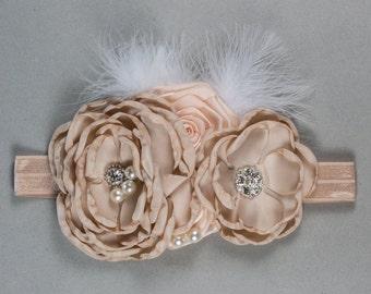 Champagne Headband, Shabby flower headband toddler and newborn girl, hair bow