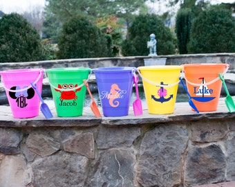 Set of 3 Personalized Beach Sand Pail Bucket Monogrammed Sand Bucket