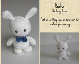 Little Stuffed Bunny - Optional Bunny Bonnet and Toy for Newborn Photography - Stuffed Bunny Amigurumi - Easter Gift - Newborn Props