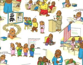 Item # 55511 11 Moda Berenstain Bear Collection Bear Country School. 1/2 Yard Cuts Children's Fabric.