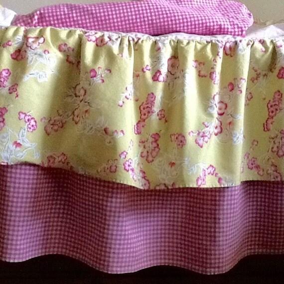 Pink Gingham Crib Skirt 57