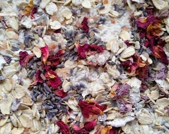 Goat's Milk, Lavender & Rose Oatmeal Bath Salts   3 Organic Herbal Bath Tea Bags   Rolled Oats Bath Salt Soak   Party Favor   6 oz