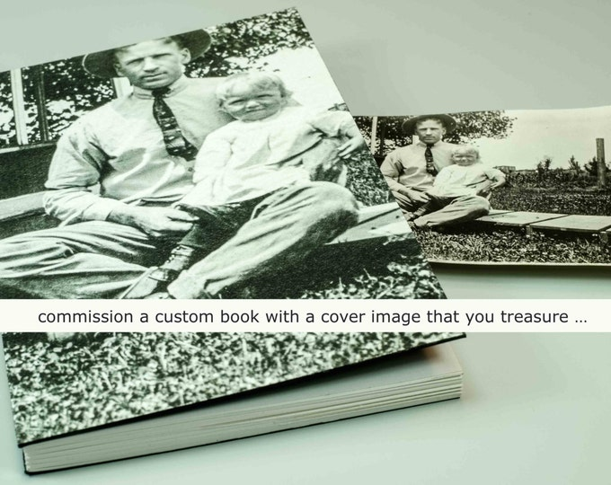 YOUR CUSTOM COVER handmade coptic bound blank book diary journal keepsake notebook with your personal artwork image photo | aBoBoBook 1917