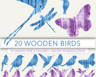Wooden birds clipart,bird clip art,birds silouette,scrapbook,birds,background,bird decoration,bird image BIRD6