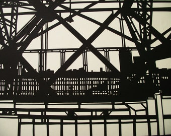 A3 Hand-cut Williamsburg Bridge Design (2) Papercut