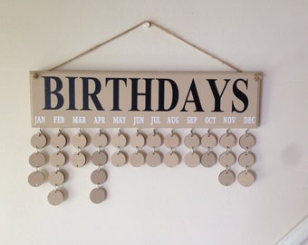 Gift for a friend, Birthday Reminder board. Complete with 30 painted circle disks. Anniversay organiser, useful home decor