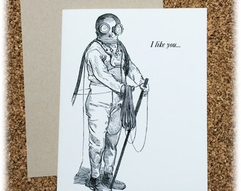 I Like You...You're Different Greeting Card Steam Punk Victorian Black & White
