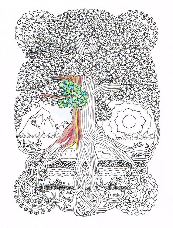Adult Coloring Page - Peace Sign Tree - Printable line art to print ...