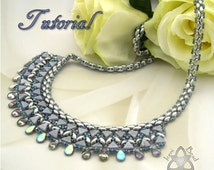 PDF Tutorial Luxor Bib Necklace with Kheops® Par Puca® beads, Pip beads and SuperDuo Beads. Beadwork Pattern, instructions