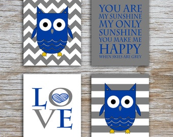 Kids (D) - You Are  My Sunshine - Owl - Gray Blue - 4 Parts