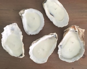 Set of 5 LARGE Soy Oyster Shell Candles