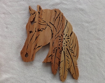Horse with feather, Scroll Saw, Wood Art, Home Decor, Fretwork, Hand Crafted