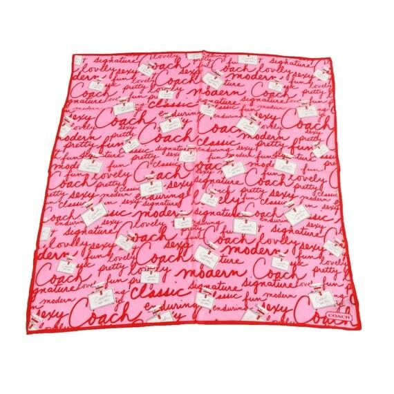 100% Silk Square Scarf Coach Signature Perfume Bottle Pink