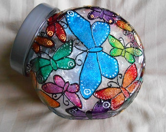 hand painted butterfly jar