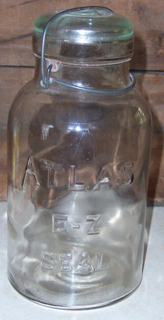 Atlas E Z Seal Vintage Glass Half Gallon Clear Canning Jar