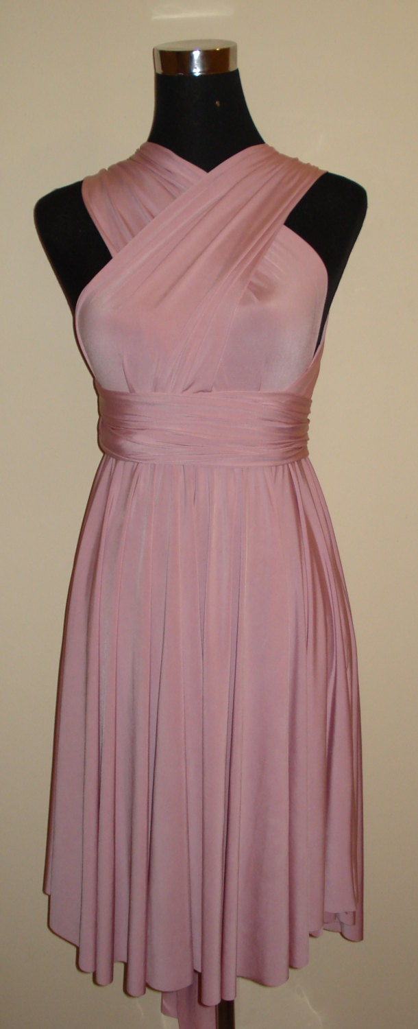 Multiway dress infinity dress bridesmaid dress dusky pink for Dusky pink wedding dress