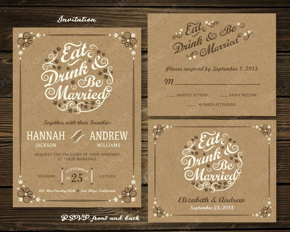Items Similar To Eat Drink And Be Married Wedding Invitation   Kraft,  Rustic, Modern   RSVP Card   PRINTED / Choice Of Paper / White Envelopes /  Free Ship ...