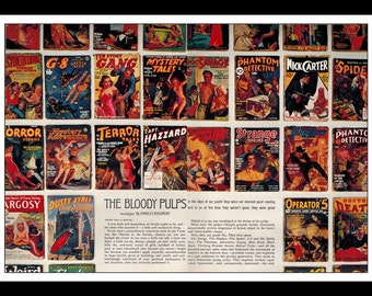 "Vintage Print Ad September 1962 : Vintage Pulp Fiction Covers 2 Page Wall Art Decor 16"" x 11"" Advertisement"