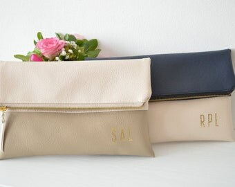 2 Personalized Bridesmaids Clutches / Monogramed Clutch Bags / Two-tone Clutch Purses