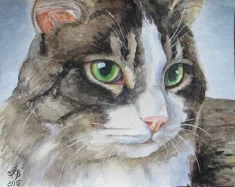 Custom Pet Portraits, favorite animals, original watercolor portrait pets to order,