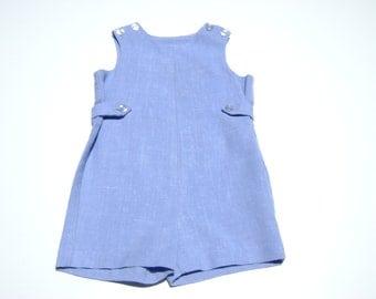 vintage imp made in united states boys jon jon romper size 4t linen blend blue