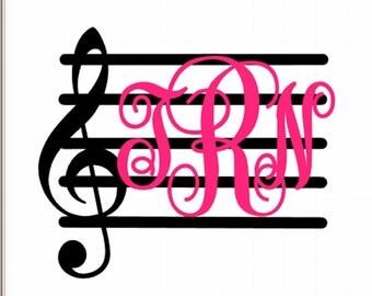 Music Monogram; Treble Clef Monogram; Music Staff monogram, Custom Car Decal, personalized decal,