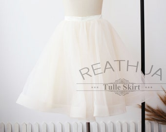 Champagne Horsehair Tulle Skirt/Short Women Tulle Skirt/TUTU Tulle Skirt/Wedding Bridal Bridesmaid Skirt/Wedding Dress Underskirt Petticoat