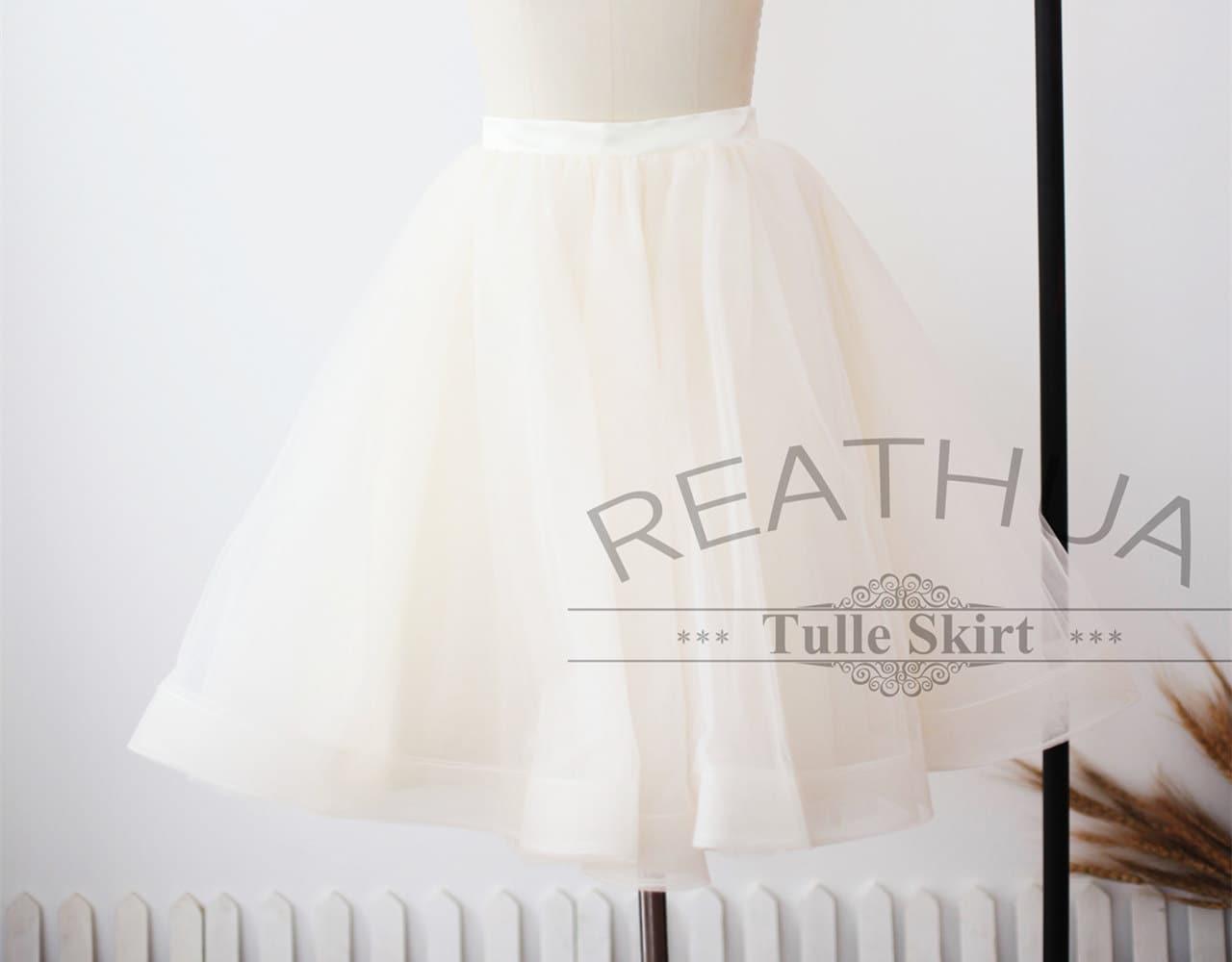 Light Gray Bridesmaid Dresses Knee Length Soft Tulle: Champagne Horsehair Tulle Skirt/Short Women Tulle Skirt/TUTU