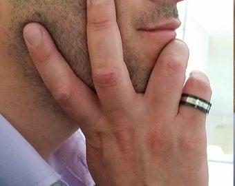 Summer gift idea,Mens ring ,Silver Ring ,engagement men's ring, Elegant Ring,black and silver ring ,Gift for him -Handmade by Jennifer