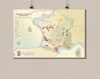 France Wine Region Map - Vintage Wine Poster Retro Food Drinks Wall Decor France Map Kitchen Decor Wine Art   bpt