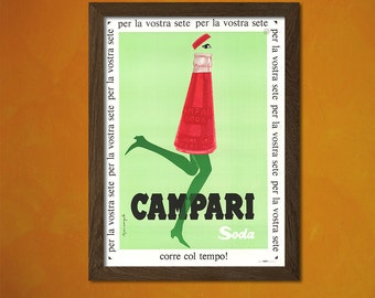 Campari Soda Poster -  Vintage Kitchen Poster Alcohol Drink Retro Wall Decor Office decoration Art Prin  t
