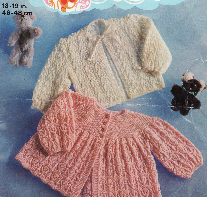 Vintage Baby Cardigan Knitting Pattern : Knit Baby Matinee Coat Vintage Knitting Pattern Cardigan