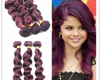 Ombre 100% human vigin Hair Extensions purple Hair 3pcs/bundle funmi wavy hair extension hair weaving hair weft