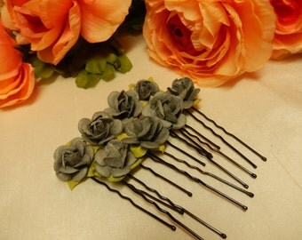 Light Grey Rose Hairpins X 10 - Hair Accessories - Hair Pins - Handmade Hairpins - Great for bridal use and historical hairstyles