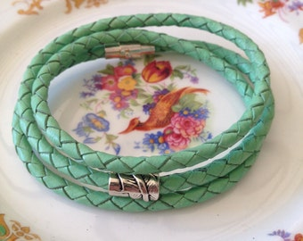 Mint green triple wrap braided leather bracelet