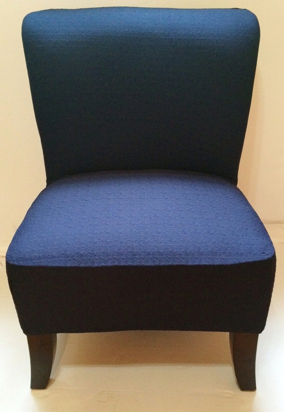 Slipcover Navy Blue Stretch Jacquard Chair Cover For Armless