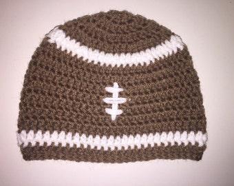 Boys football crocheted beanie, football hat, football beanie