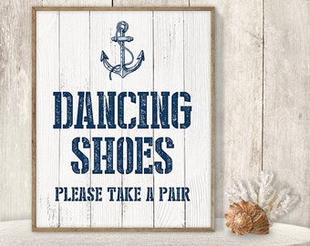 Dancing Shoes, Please Take A Pair // Flip Flop Basket Sign DIY // Dance Poster // Nautical Anchor PDF // Nautical Planks ▷ Instant Download