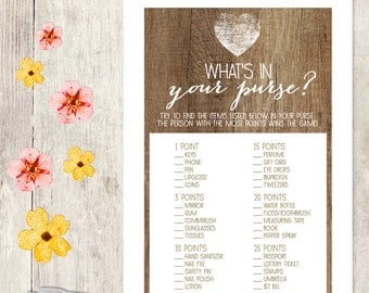Rustic Bridal Shower Game DIY / Rustic Wood, Heart / What's In Your Purse Printable PDF / Wedding Shower ▷ Instant Download