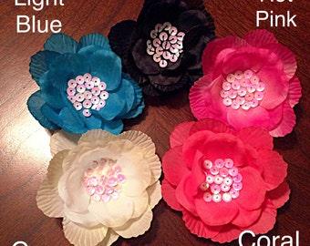 Sequin Center Flower Clip with Optional Headband