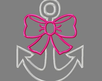 Buy 3 get 1 free! Anchor applique embroidery design, anchor with bow design, anchor and bow embroidery design, nautical applique design