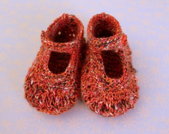 Baby Mary Janes, Orange Booties, Baby Girl Shoes, Baby Sandals, Baptism Gift, Hand Knit Booties, Baby Shower, Baby Girl Gift,Colourful Shoes